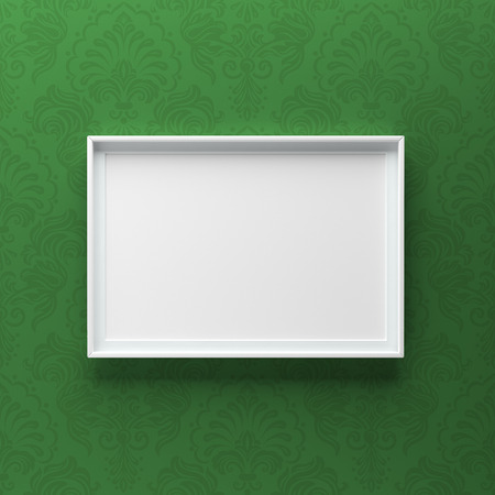 Elegant picture frame standing on gray wall with green pattern. Design element. 3D render, light from top Standard-Bild - 119387669