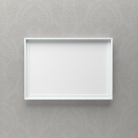 Elegant picture frame standing on gray wall with pattern. Design element. 3D render, light from top Standard-Bild - 119387672