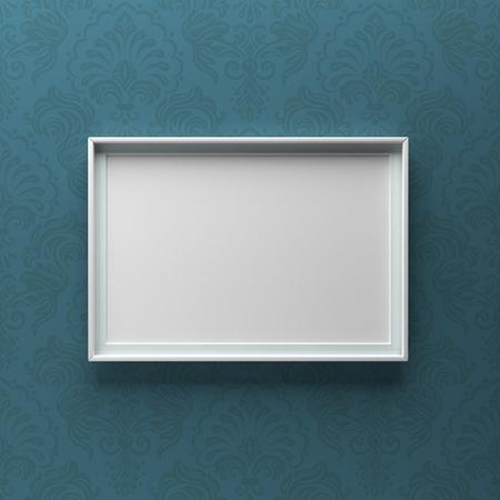 Elegant picture frame standing on wall with blue pattern. Design element. 3D render, light from top Standard-Bild - 119387673