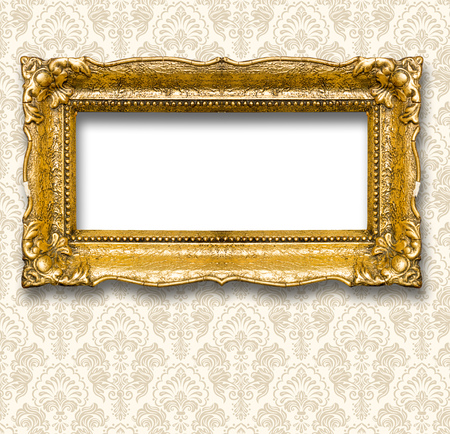 Big and old gold picture frame, isolated on white Standard-Bild - 119387970