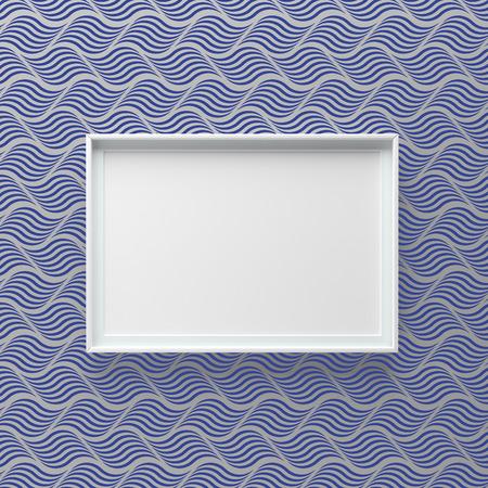 Elegant picture frame standing on wall with wave pattern. Design element. 3D render, light from top Standard-Bild - 119387973