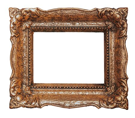 Big old copper metal picture frame, isolated on white, design element