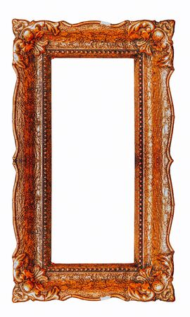 Vertical copper ornate picture frame with white background - Stock image design element