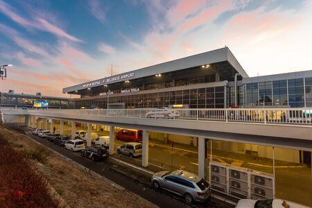 International Airport Nikola Tesla in Belgrade, Serbia, early morning sunrise, departures gate