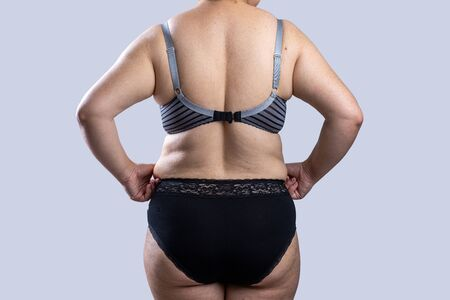 Woman Real Body Plus size Model in lingerie posign, imperfect nonideal