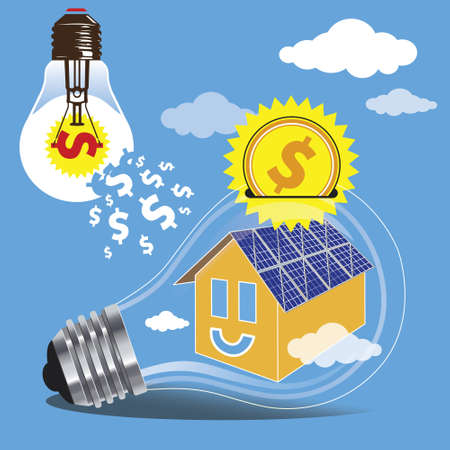 clean energy: The concept of saving money by the use of clean energy of the sun. Construction of solar panels on the roofs of houses.  Illustration