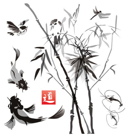chinese bamboo: Stencils birds, fish and plants in the eastern style.Vector illustration
