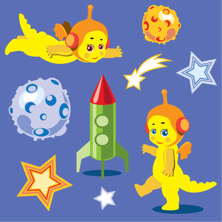 astronauts: Animation astronauts dragons with the rocket and models of planets. Illustration