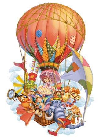 Fairy tale characters invite in travel by a balloon. Invitation card for a holiday or birthday. Raster illustration. Stock fotó
