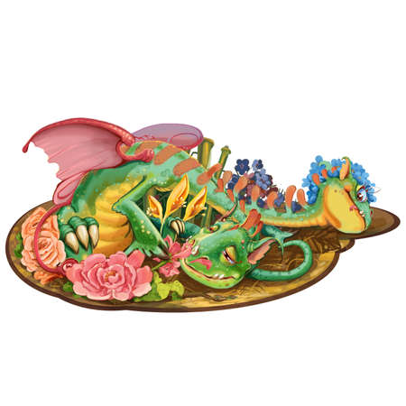 toy story: Cartoon dragon with two heads who loves flowers. Raster illustration Stock Photo