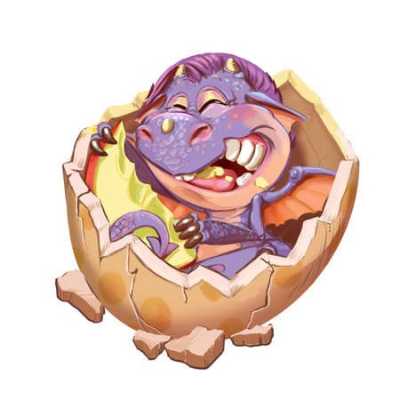 lodge: Cartoon little dragon in the lodge from a shell. Raster illustration