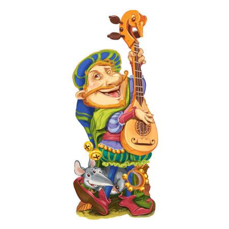 rata caricatura: El duende de los cuentos de hadas, junto con el amigo una rata alegre, toca la canción de felicitación de la guitarra. Tarjeta de invitación para una fiesta o un cumpleaños. Ilustración de la trama.
