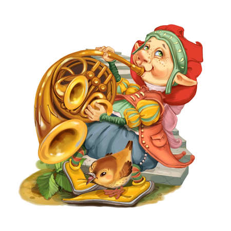 french fancy: The elf from the fairy tale together with the friend a bird plays music on a french horn. Invitation card for a holiday or birthday. Raster illustration. Stock Photo