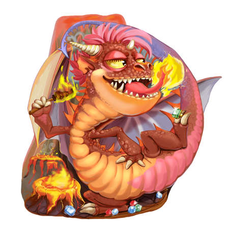 toy story: Cartoon dragon of the lord of vaults and jewels. Raster illustration