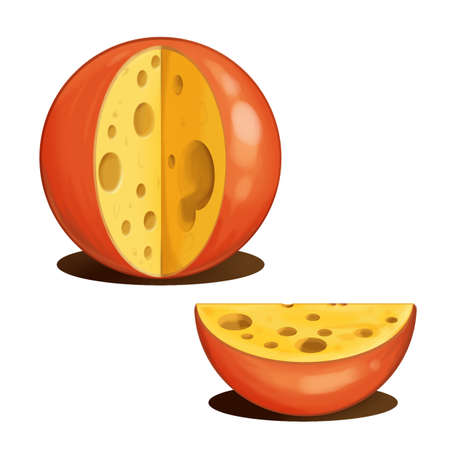 cheez: The image of the cut head of tasty cheese. Raster illustration.
