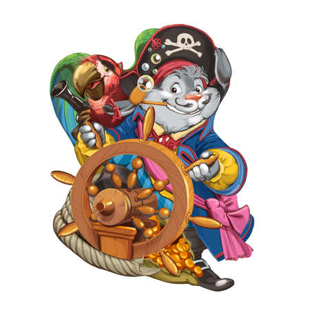 ship steering wheel: The cartoon hare the pirate in a camisole stands behind a ship steering wheel with the assistant a parrot. Invitation card for a holiday or birthday. Raster illustration. Stock Photo