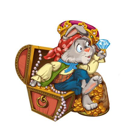 considers: Cartoon hare pirate sits on a chest with treasures and considers jewels. Invitation card for a holiday or birthday. Raster illustration. Stock Photo