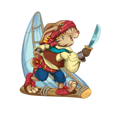floats: Cartoon hare pirate floats on a sailing vessel from a log and holds a saber in hand. Invitation card for a holiday or birthday. Raster illustration.