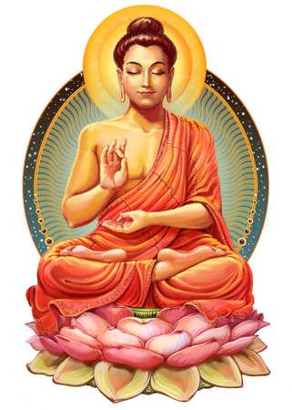Illustration with Buddha in meditation. Raster illustration 스톡 콘텐츠