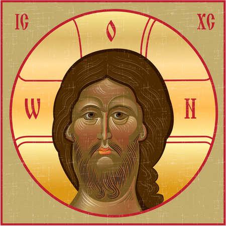 church window: Vintage icon of Jesus. Vector illustration