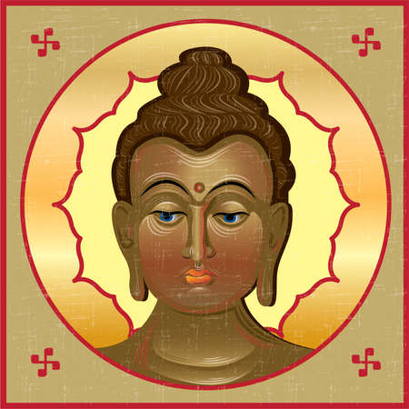 chinese symbol: Icon of Buddha in the Byzantine style.Vector  illustration.