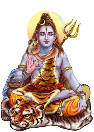 Shiva which is part of the divine triad trimurti. Raster illustration