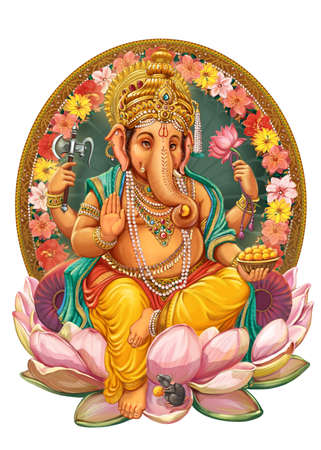 lord: God Ganesha. Invitation cards Dawali Holiday.Raster illustration