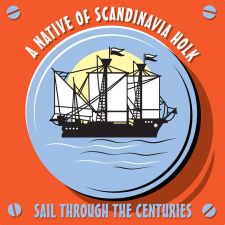 galley: Sail Through the Centuries. Sailboat Vessel  a Native of Scandinavia Holk. Vector  illustration