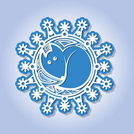 fiambres: Snowflake with image of a fox. A greeting card for New Year and the invitation card for a holiday. Vector illustration