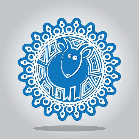 pecora: Fiocco di neve con un contorno di pecore sui segni dello zodiaco cinese. Una carta per il nuovo anno e l'invito a una vacanza. Illustrazione vettoriale