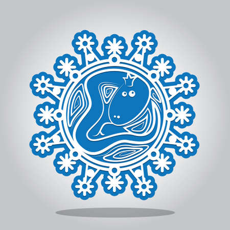 snake year: Snowflake with a contour of the Snake on the Chinese zodiac signs. A card for New year and the invitation to a holiday. Vector illustration