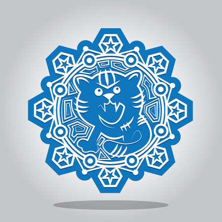 fiambres: Copo de nieve con un contorno del Tigre en los signos del zodiaco chino. Una tarjeta para Año Nuevo y la invitación a una fiesta. Ilustración vectorial