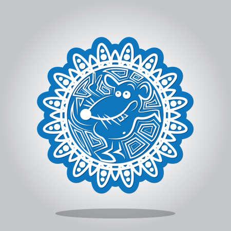 rata: Copo de nieve con un contorno de la rata en los signos del zodiaco chino. Una tarjeta para A�o Nuevo y la invitaci�n a una fiesta. ilustraci�n vectorial