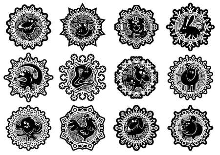 Characters Chinese zodiac signs in the snowflake. Black and white.Vector illustration Illusztráció