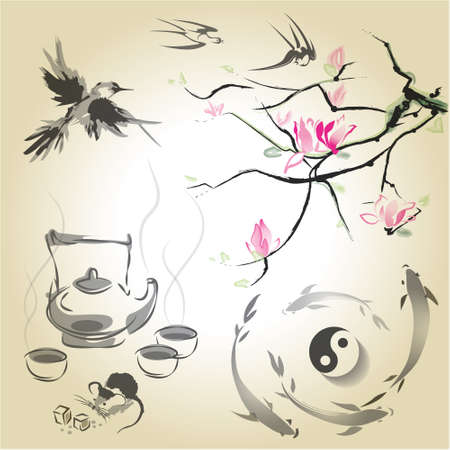 japan calligraphy: The branch of magnolia in the traditional Japanese style of sumi-e, tea ceremony and swallows, Japanese carp and yin yang.