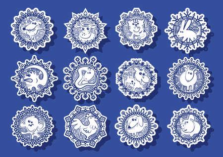 Caracteres signos del zodiaco chino en los copos de nieve blancos en un ejemplo azul background.Vector Foto de archivo - 46089363