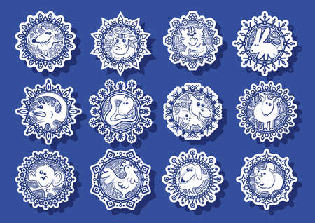 chinese zodiac: Characters Chinese zodiac signs in the white snowflakes on a blue background.Vector illustration