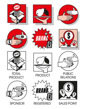 03: Line icons set with flat design elements of marketing and distribution of goods and products. Modern vector pictogram collection concept. Set 03