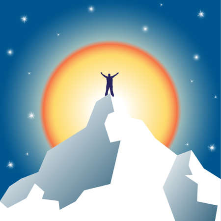 high spirits: Businessman holding on top of mountain. Winner and leader concept. Vector illustration