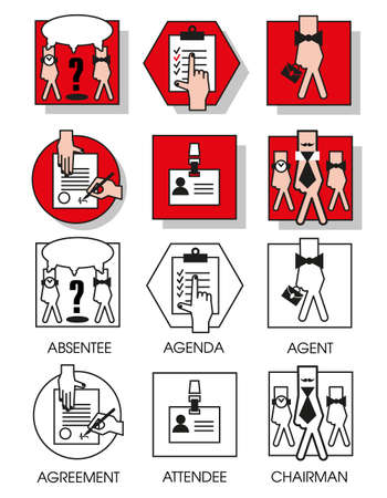 absentee: Line icons set with flat design elements of business people of the agreements and meetings. Modern vector pictogram collection concept. Set 04 Illustration