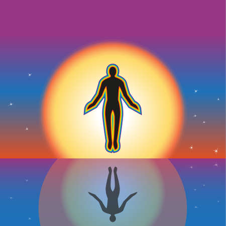 yogi aura: Separation from the earth and a levitation. A contour of the person in a cover from a rainbow.