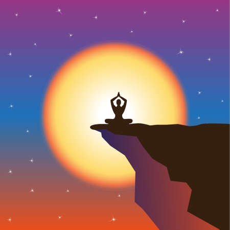 subdue: Meditation and sunset at mountain top. Winner and leader concept. Vector illustration