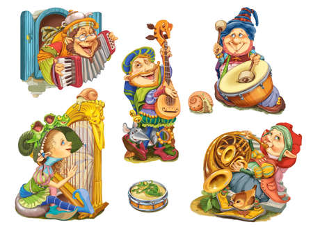 french fancy: Set elves playing musical instruments.Characters design for invitations or greeting cards. Raster illustration Stock Photo