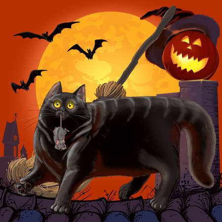 Halloween Scared Cat and  Mouse with Pumpkin. Raster illustration