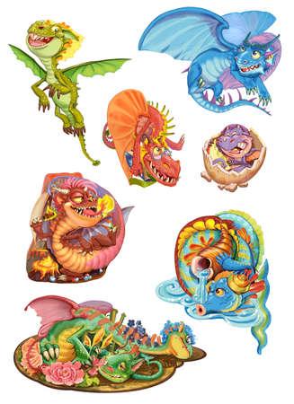 toys clipart: Dragons set on a white background. Raster illustration Stock Photo