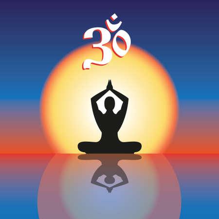 Concept image symbol Om practice. Vector illustration