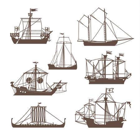 galley: Set of vintage sailing ships. Vector illustration isolated on white