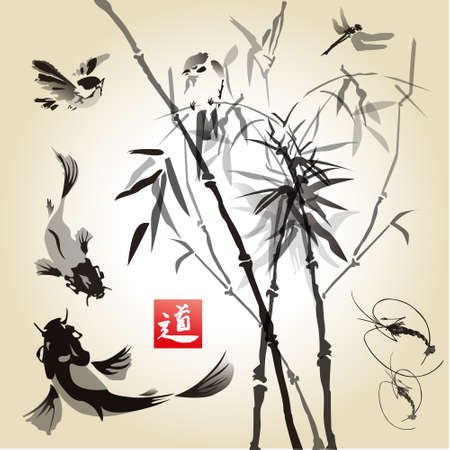 Card with bamboo in the bird and fish .Hand-drawn with ink. Traditional Japanese painting. Vector illustration. Hieroglyph  way. Illusztráció