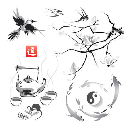 The branch of magnolia in the traditional Japanese style of sumi-e, tea ceremony and swallows, Japanese carp and yin yang.Vector illustration. Hieroglyph  way. Illustration