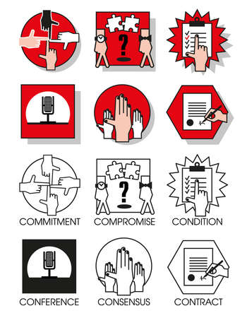 compromise: Line icons set with flat design elements of business people of the agreements and meetings. Modern vector pictogram collection concept. Set 05 Vectores